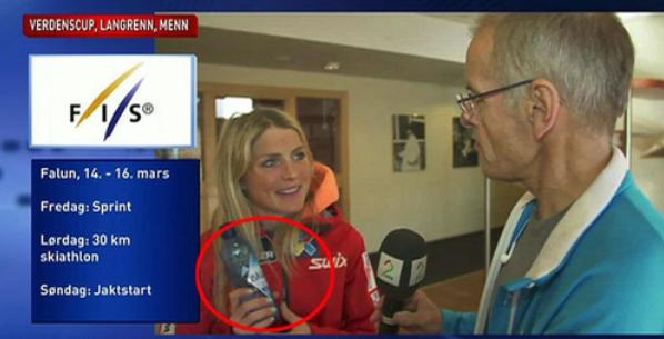 Therese Johaug med sin sponsede Isklar flaske veldig tydelig framme under et intervju med Tv2 Sporten.